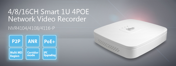 NVR Dahua 4104-P fino 5Mpx 80 Mbps di banda passante 4 Canali con 4 porte POE+